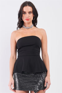 Black Strapless Fitted Flare Elegant Top