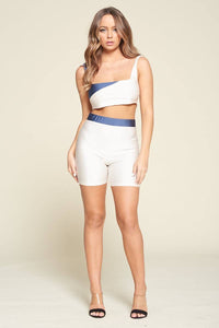 Two Piece Top And Biker Shorts Set