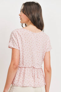 Printed Woven Front Tied Neck Flounce Short Sleeve Top