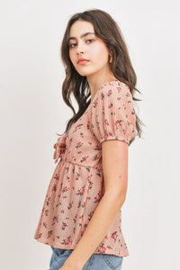 Front Tie Floral Waffle Top