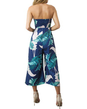 Load image into Gallery viewer, Strapless Palm Leaf Geometric Print Jumpsuit