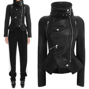 Motorcycle Faux Leather Jacket Women