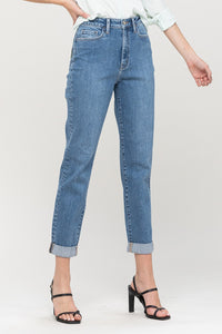 Stretch Mom Jean with Rolled Cuff
