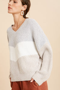 Brushed Colorblock Chevron Sweater
