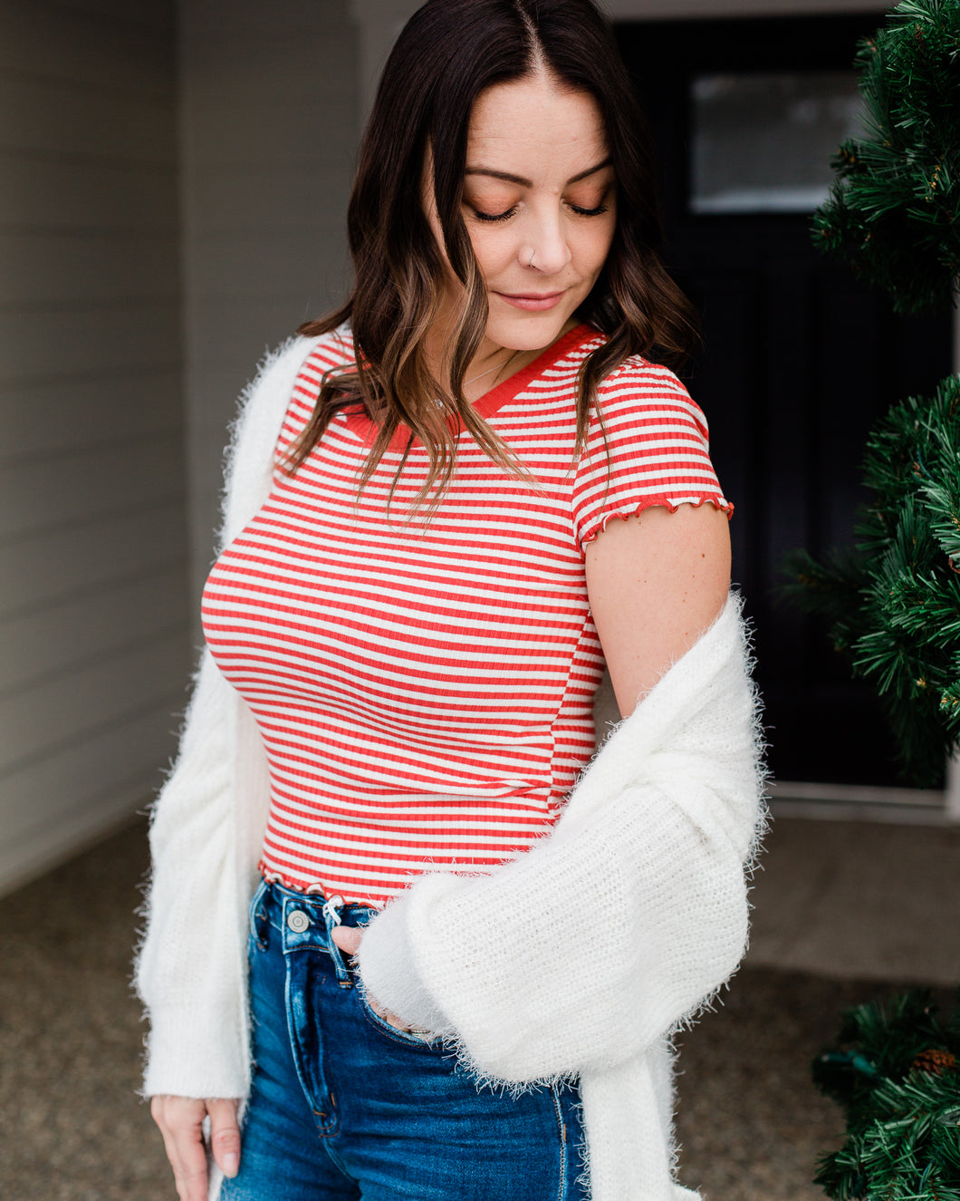 Striped Ribbed Tee