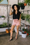 Super High Rise Button Paper Bag Shorts in Rose