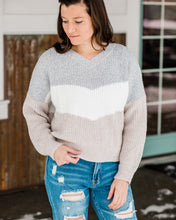 Load image into Gallery viewer, Brushed Colorblock Chevron Sweater