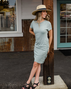 Sage Side Ruched Dress