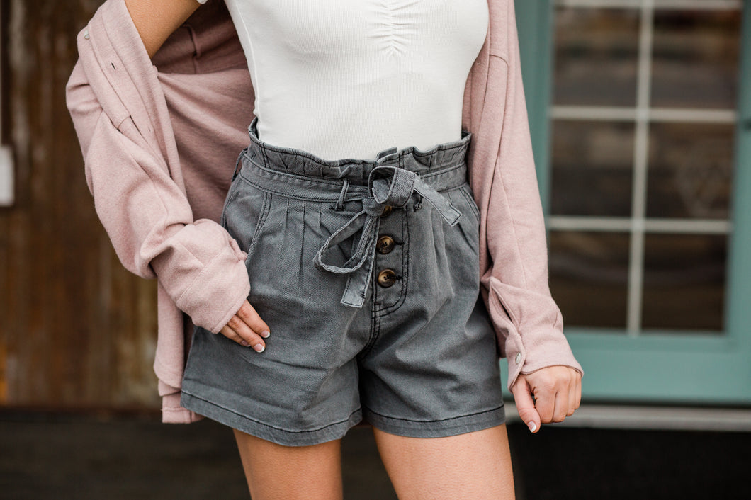 Paperbag Button Up Shorts