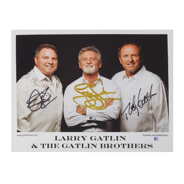 Gatlin Brothers Black Backdrop Autographed 8x10 Photograph