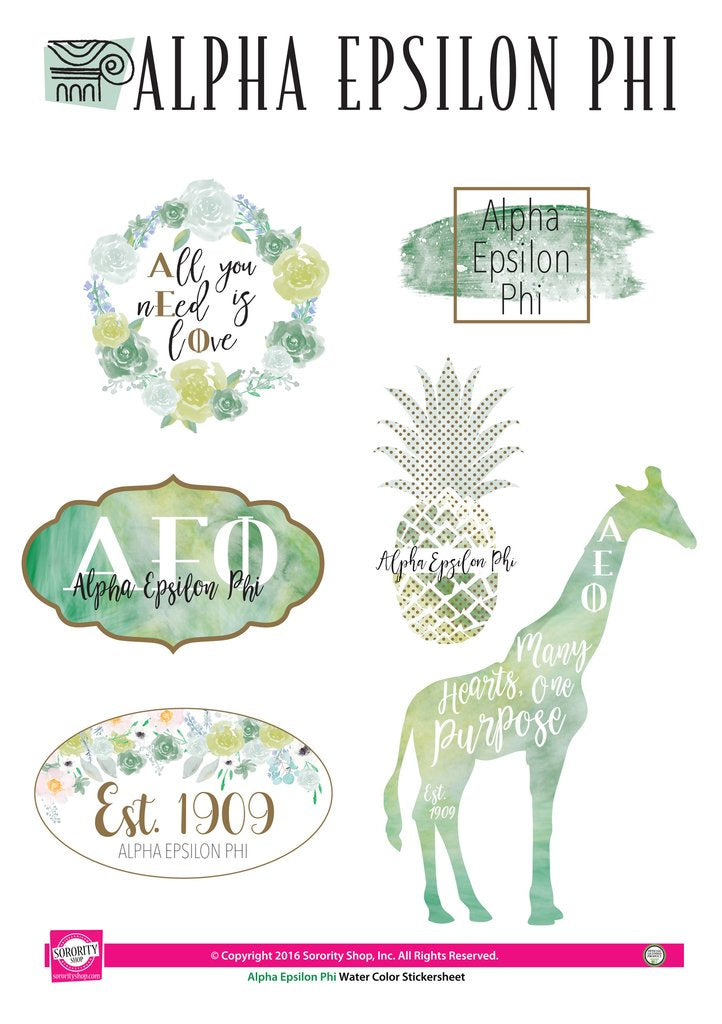 Alpha Epsilon Phi Watercolor Sticker Set