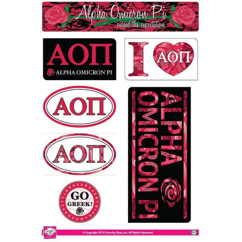Alpha Omicron Pi Lifestyle Stickers