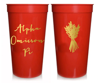 Alpha Omicron Pi Sorority Stadium Cup with Gold Foil Print