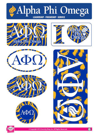 Alpha Phi Omega Animal Print Stickers