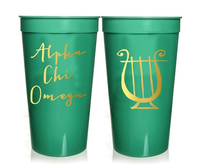 Alpha Chi Omega Sorority Stadium Cup with Gold Foil Print
