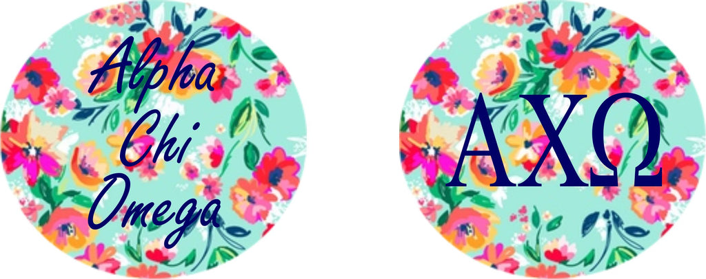 Alpha Chi Omega Floral Printed Button