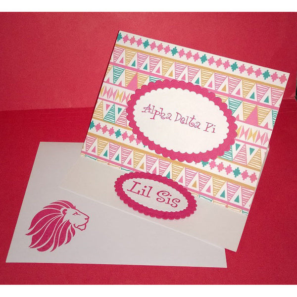 Alpha Delta Pi Tribal Print Cards