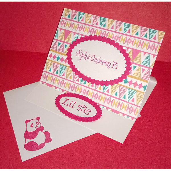 Alpha Omicron Pi Tribal Print Cards