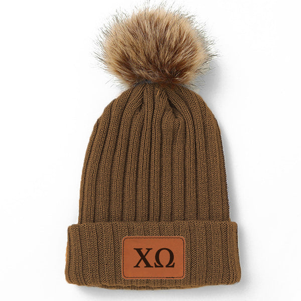 Chi Omega Leather Patch Pom Pom Knit Hat