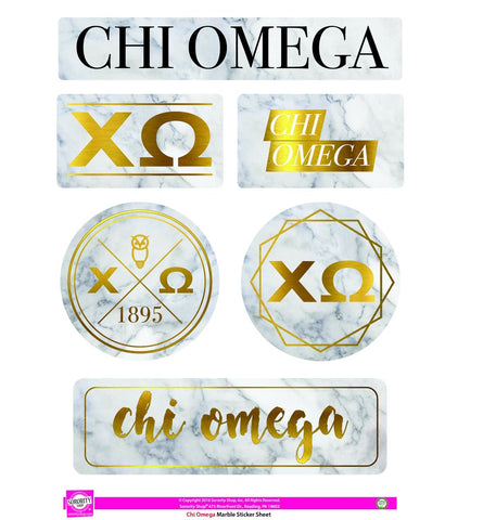 Chi Omega Marble Sticker Set