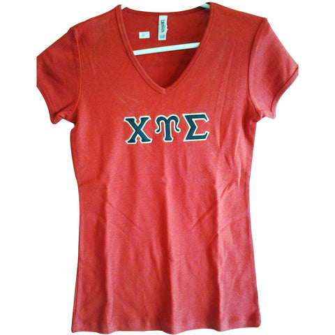 Chi Upsilon Sigma Embroidered V-neck
