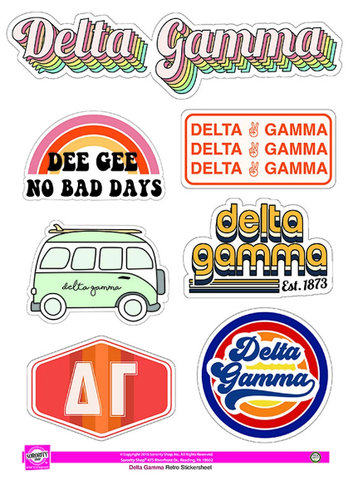 Delta Gamma Retro Sticker Set