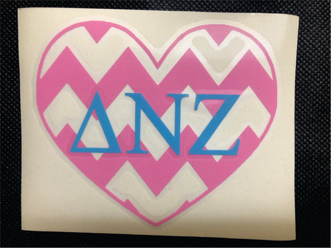 Delta Nu Zeta Heart Decal