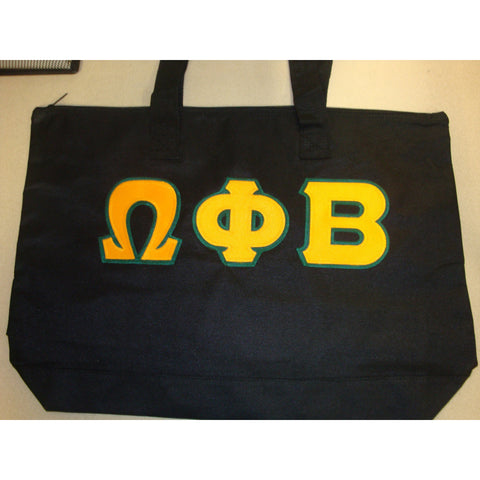 Omega Phi Beta Black Tote back