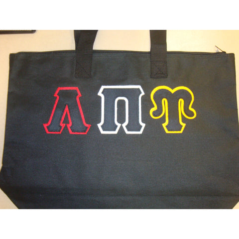 Lambda Pi Upsilon greek lettered tote