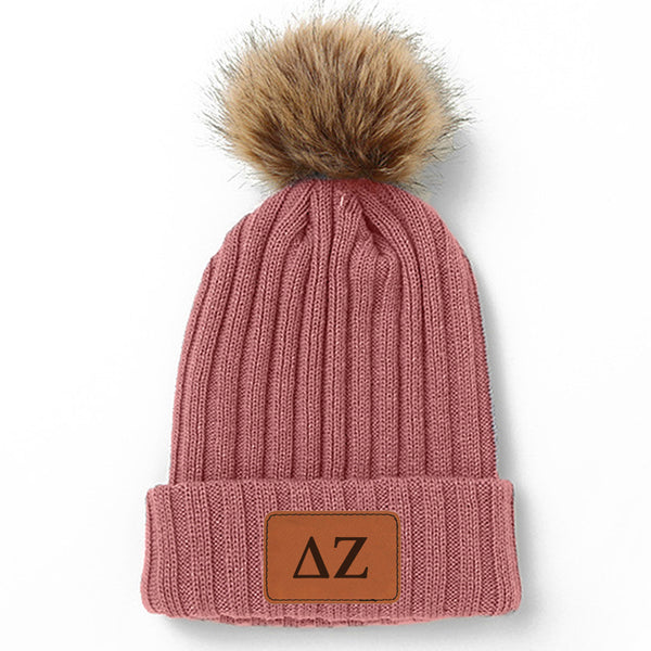 Delta Zeta Leather Patch Pom Pom Knit Hat