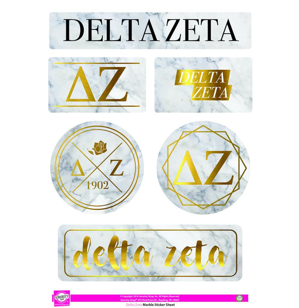 Delta Zeta Marble Sticker Sheet