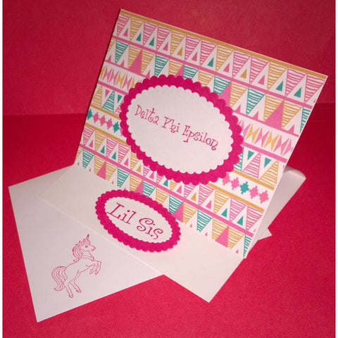 Delta Phi Epsilon Tribal Print Cards
