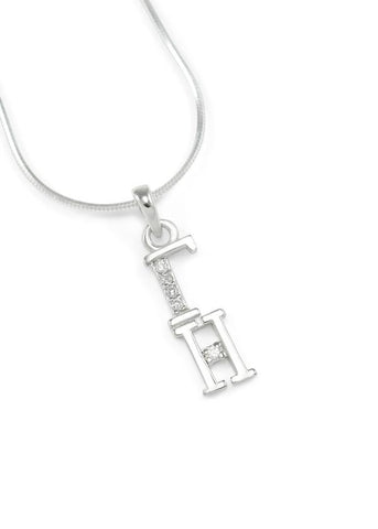 Gamma Eta Sterling Silver Lavaliere with Crystals