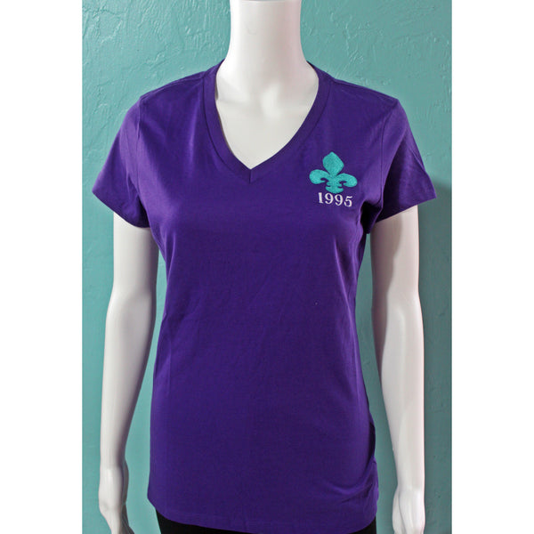 Gamma Eta Fleur De Lis Embroidery Purple V-Neck 2
