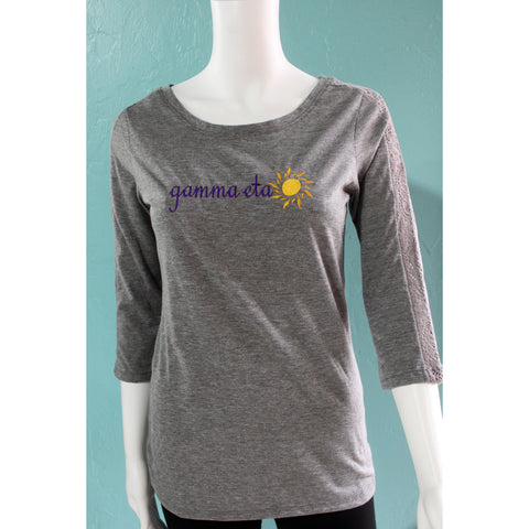 Gamma Eta Gray lace 3/4 Sleeve