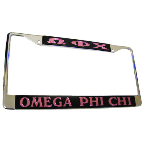 Omega Phi Chi Car License Frame