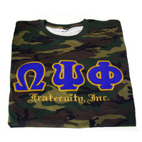 Omega Psi Phi Frat Inc. Embroidered Camo Tee