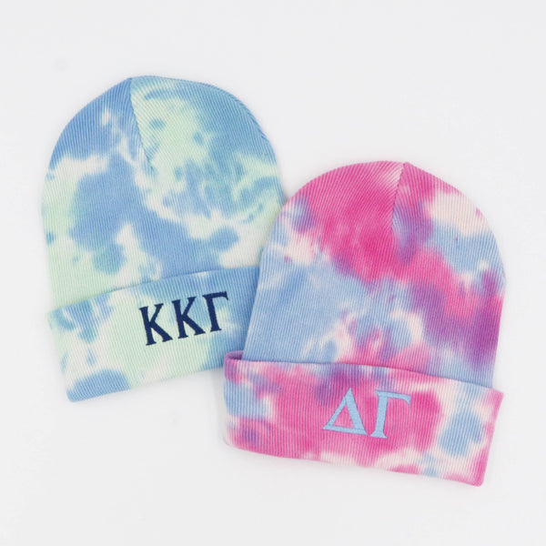 Sorority Greek Letter Tie-Dyed Knit Beanie