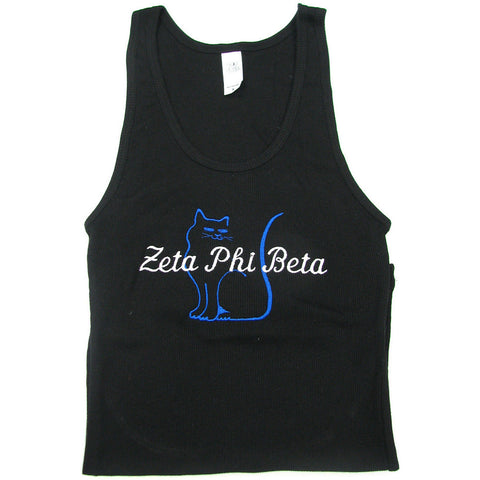 Zeta Phi Beta Black Embroidered Tank w/Mascot