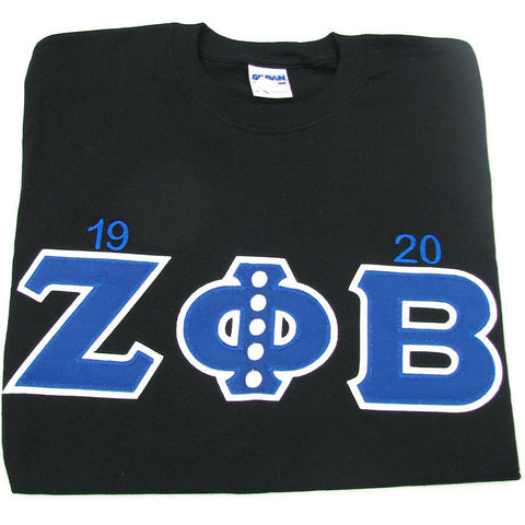 Zeta Phi Beta Embroidered Tee w/ pearls