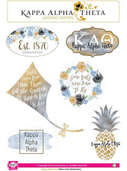 Kappa Alpha Theta Watercolor Sticker Sheet