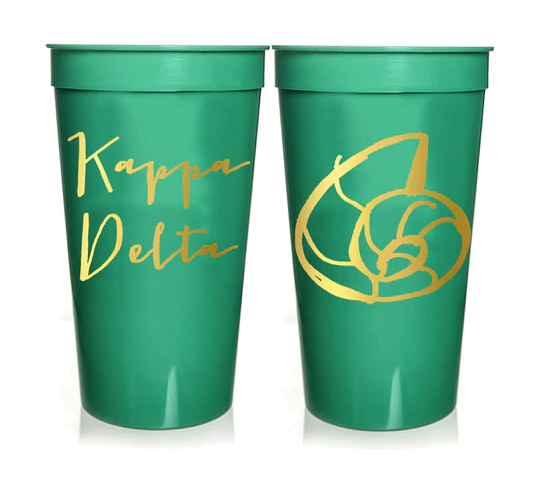 Kappa Delta Sorority Stadium Cup with Gold Foil Print