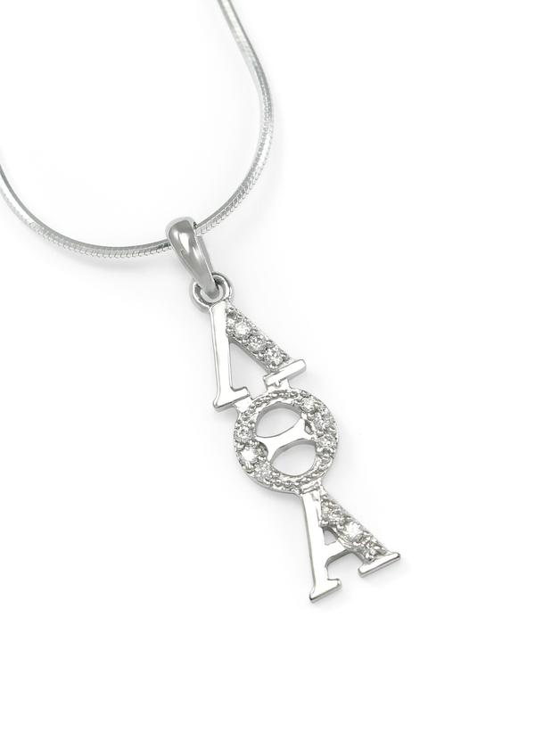 Lambda Theta Alpha Sterling Silver Lavaliere With Crystals Greek
