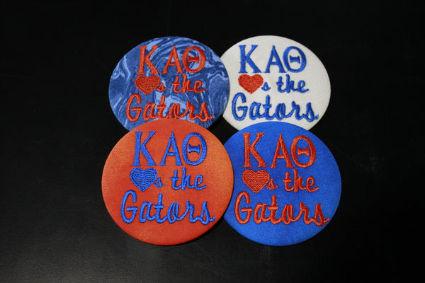 "Kappa Alpha Theta ""Hearts the ___"" Game Day Embroidered Button"
