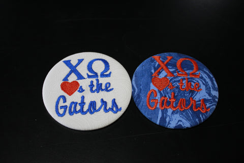 "Chi Omega ""Hearts the ___"" Game Day Button"