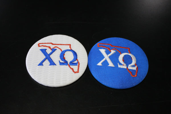 Chi Omega Florida Outline Game Day Embroidered Button
