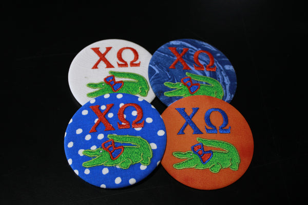 Chi Omega Gator Game Day Embroidered Button