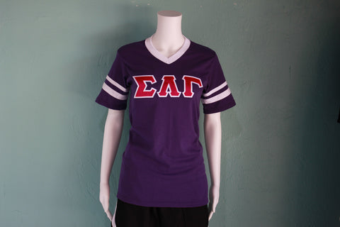 Sigma Lambda Gamma Striped V-neck