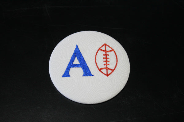 Alpha Phi Football Embroidered Button