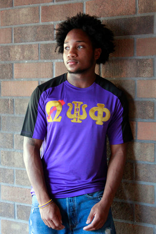 Omega Psi Phi Embroidered Color Block Dry-Fit Tee
